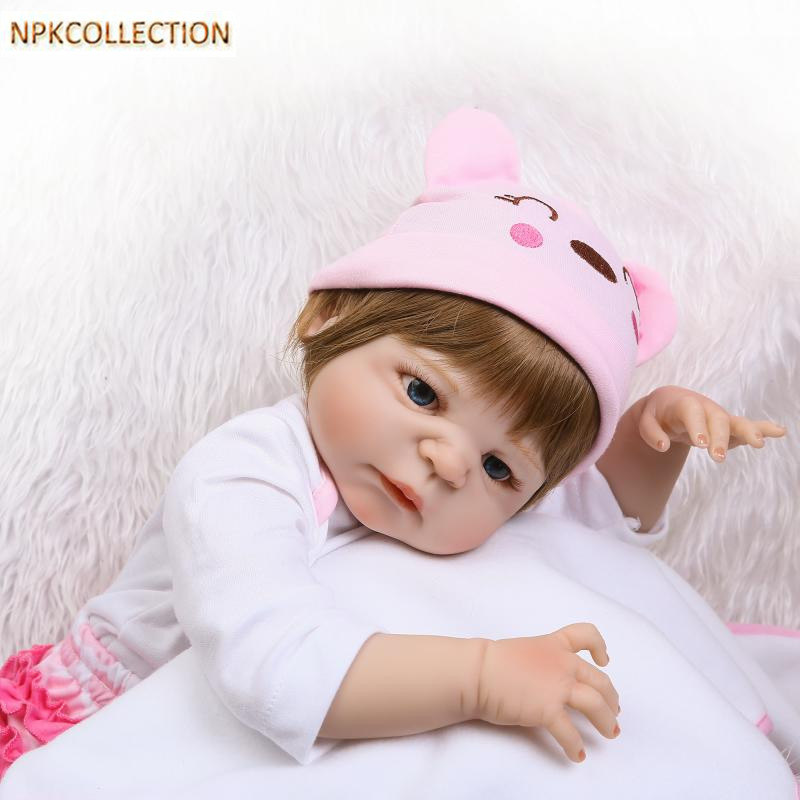 NPKCOLLECTION 52CM Full Body Silicone Reborn Dolls Babies Alive Bonecas Newborn Girl Baby Doll Toys for Kids Christmas Xmas Gift silicone reborn dolls baby alive doll soft toys for children christmas gifts 15 inch real reborn babies bonecas newborn dolls