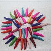 "Mini. order is $7!10x40mm Multicolor Turquoises Chili Loose Beads 15""(39pcs)"