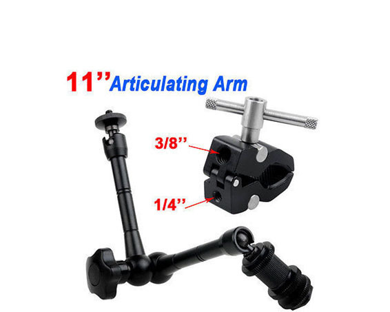 Tripods 2in1 11 inch Articulating Magic Arm+Super Clamp for Camera Camcorder LCD Monitor LED Light DSLR Rig Movie Kit