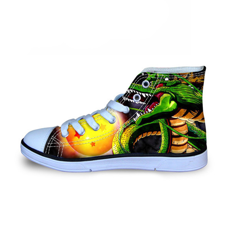 THIKIN Fashion High-top Vulcanize Canvas Shoes For Men Custom Anime Dragon Ball Z Print Spring Casual Lace-up Breathable Flat