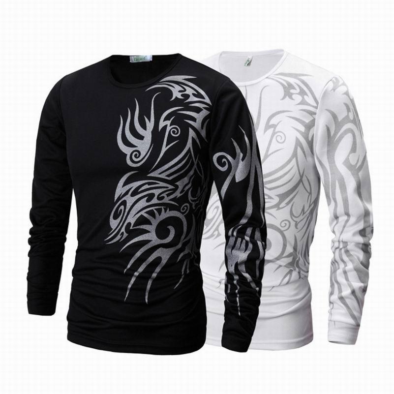 Лидер продаж 2017, модная мужская футболка с длинным рукавом и принтом татуировки, брендовая новая мужская одежда, повседневные облегающие хл...