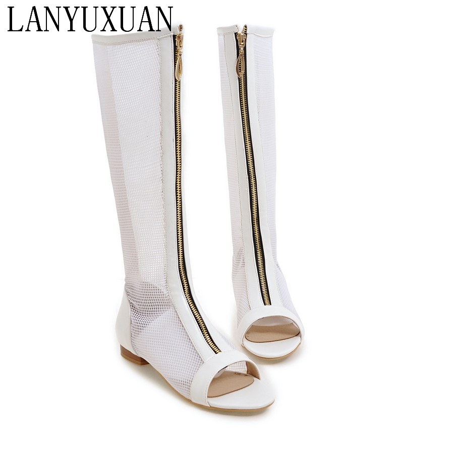2017 New Women HOT SALE Cool boots hight cut peep toes lady casual shoes women's sexy Low-heeled sandals Big size 34-47 362-1 lanyuxuan 2017 new hot sale sandals