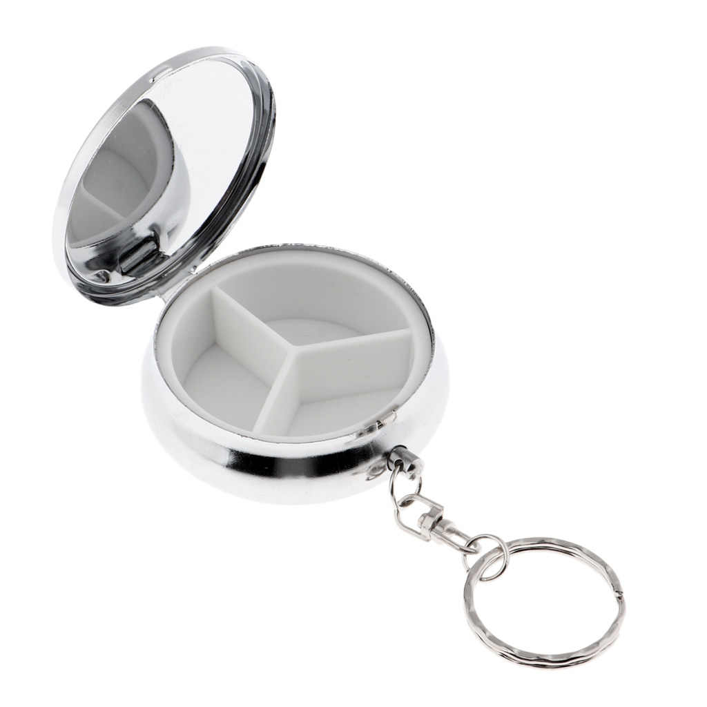 Mini 3 Compartments Eyeshadow Powder Keychain Case Pill Planner Organizer Box Mints Container for Purse Pocket