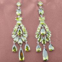 Noble Design Green Peridot AAA Cubic Zirconia For Women Drop Earrings Silver Jewelry Free Shipping LS004