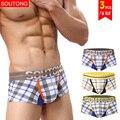 Underwear 3 unids/lote soutong masculinos hombres del algodón boxers underwear cueca calzoncillos hombre calzoncillos underwear hombres cortocircuitos de los boxeadores