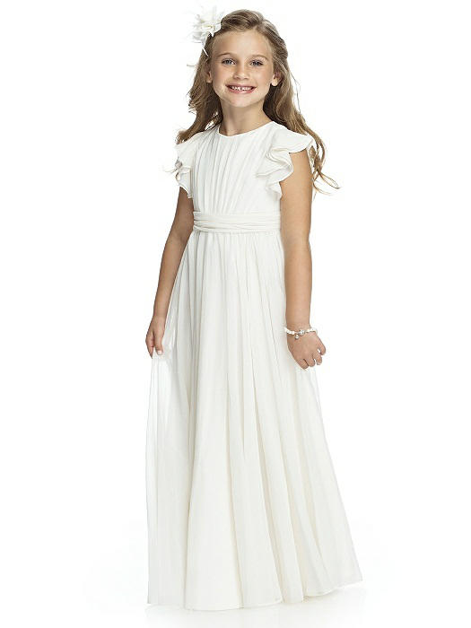 Vestidos de Primera Comunion A-line Length Flutter Sleeves Chiffon Fashion Flower Girl Dress with Bow for Wedding Party 2-12 yrs navy round neck 3 4 length sleeves chiffon blouses