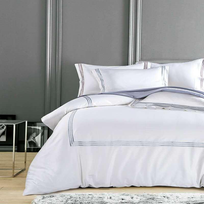 Jedwabiście egipskiej bawełny Hotel biały pościel ustawić chiński hafty kołdra pokrywa zestaw królowa łóżko typu king size arkusz zestaw narzut na łóżko poduszka w Zestawy pościeli od Dom i ogród na  Grupa 1