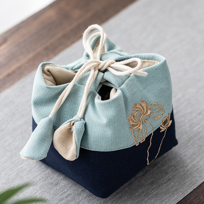 New Cotton Tea Cozy Chinese Kung Fu Tea Bag Cotton Linen Embroidery Portable Cover Teapot Travel Cloth Rope Bag
