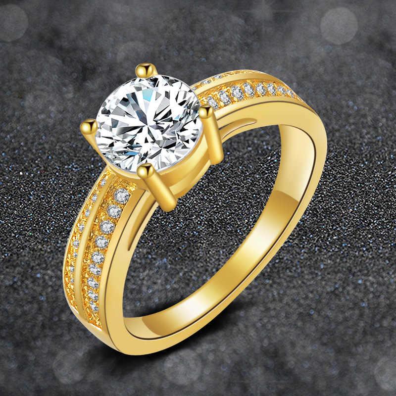Đồ Trang Sức mỹ Bất 24 K Yellow Gold Nhẫn Đối Với Phụ Nữ 1 Carat CZ Diamant Engagement Cưới Nhẫn Vòng Màu Vàng Kích Thước 7 8 R139