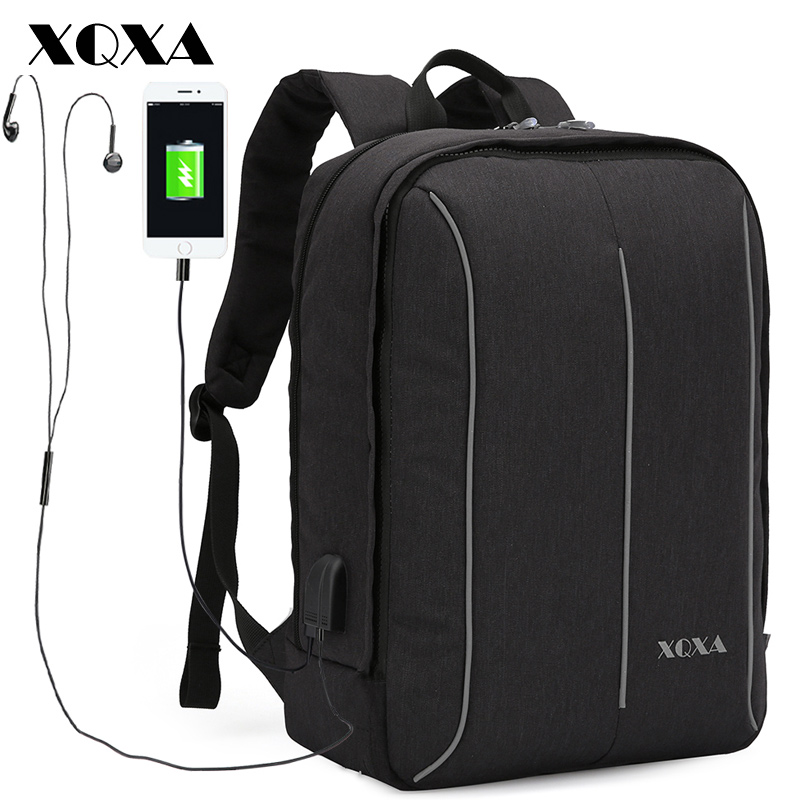XQXA Men's Backpacks USB Charging Travel Backpack for 1517 Laptop Bagpack Men Casual Daypack Black School Bags for Teenagers multifunction men women backpacks usb charging male casual bags travel teenagers student back to school bags laptop back pack