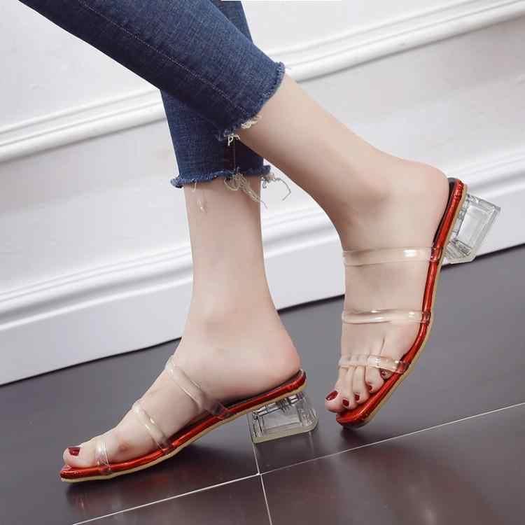 Three Buckle Transparent PVC Upper Slippers Women Peep Toe Slip On Ladies Slides Clear Chunky Heels Shoes Woman Brand Designers