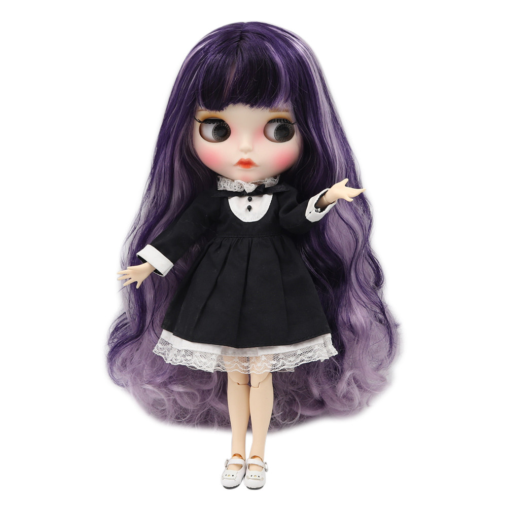 Blyth doll 1 6 bjd white skin joint body Purple mixed color long curly hair new
