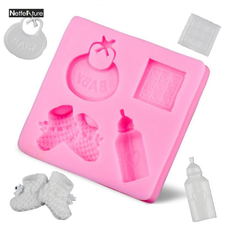 3D Mold Sillicone Cake Mold BABY Feeding Bottle Small Shoes DIY Chocolate Fondant Mold Embossing dies Cake Decorating Mold Tools