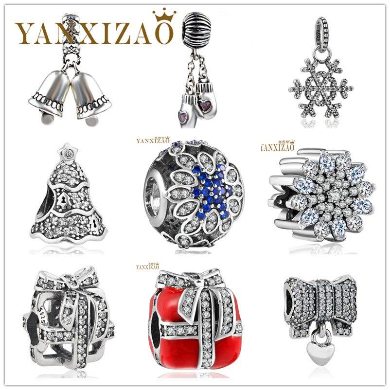 Yanxizao 2018 ezüst 925 CZ varázslat női gyöngyök illik Pandora stílus cirkóni bell hó karkötő DIY ékszerek lányok születésnapi ajándék x13