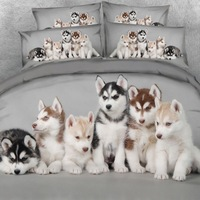 Royal Linen Source Brand Husky Babies Bedding Set Lovely Dogs Bed Sheet Set Boys and Girls Bed Cover Bed Linens