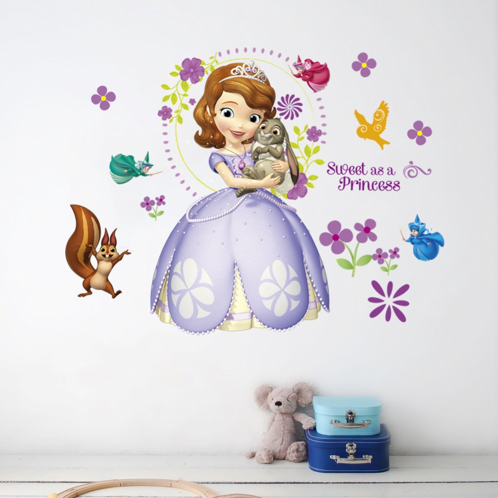 Sweet Princess Sofia Cartoon Animals Fox Poster For Kids Room Nursery Self Adhesive Wallpaper Home Decor Wall Stickers Removable