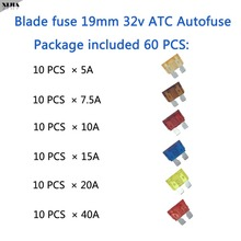 Package included 60 PCS 19mm 32V ATC Autofuse 5A/7.5A/10A/15A/20A/40A Blade Fuse for Auto Car Truck Fuse