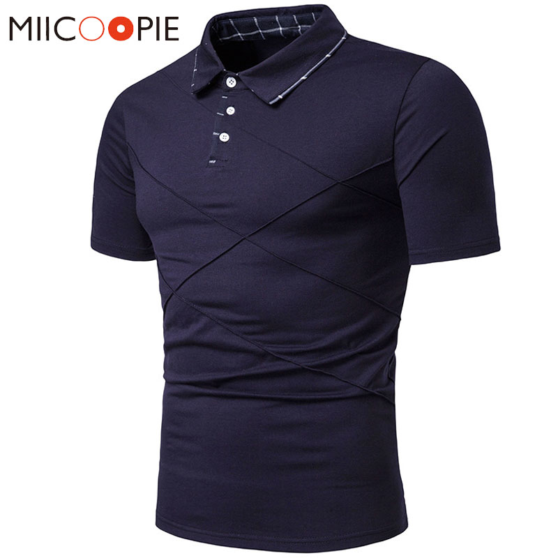 Summer New Men's   Polos   Breathable Basic Fold Design Short Sleeve   Polos   Para Hombre Casual Busines Patchwork Male   Polo