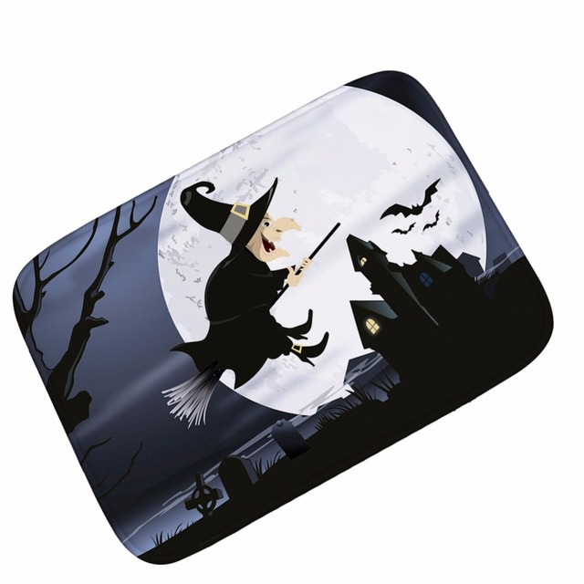 Mdct Flying Broom Witch Floor Mats Area Rugs Outdoor Entrance Welcome Floormats Wizard Bat Ghost