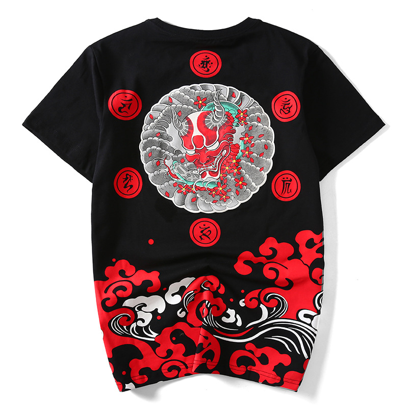 Japanese Tide Card Devil Wave Ukiyo-E Original Wind Pure Cotton Loose Large Code Summer New Men's Short-Sleeved Street