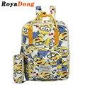 Royadong marca 2017 de las mujeres mochilas de lona de dibujos animados minions impresión conjunto mochila mochilas escolares para adolescentes niñas mochilas bolsa