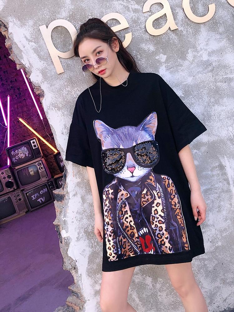 Marée Lunettes Nouveau 2019 Chat Thaïlande Col Sequin blanc T Noir Rond Lâche Pull À Impression Manches Femelle Marque shirt Printemps Courtes Rue dIxAgYA