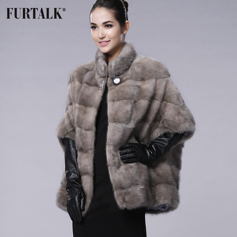 FURTALK marca ruso INVIERNO DE LAS MUJERES abrigo de piel natural verdadero del visión