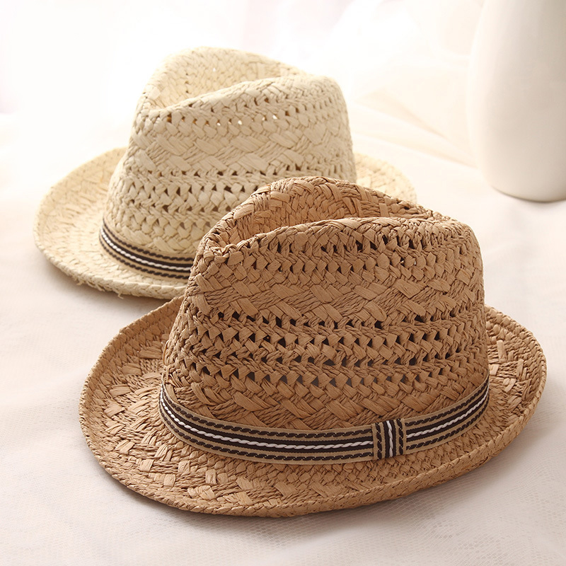 Summer Sun Beach Straw Hat Flat Wide Brim Hats For Women Men Children Ladies Cap Fashion Handmade Casual Sunhat Female Caps
