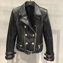 本物/本物の革のジャケット女性 jaqueta feminina couro ダブルブレストショートスリム羊スキンコート人間サンドバッグ 2019 秋のストリート