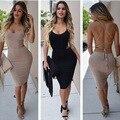 Mujeres tiempo limitado algodón novedad vaina imperio maxi dress ninguno 2016 de europa y américa sexy cintura alta bind sin respaldo