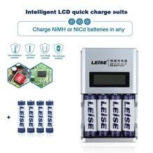 Carregador de Bateria Carga com Indicação Lcd para a 4 Slots Recarregável Inteligente Indenpent de Bateria