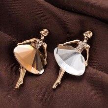 Broche de bailarina de princesa hermosa elegante a la moda, pines de cristal, accesorios de joyería