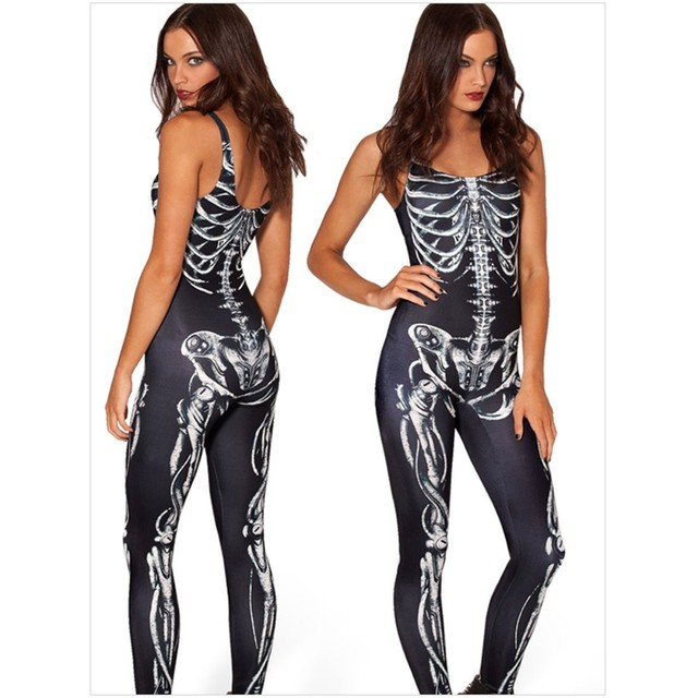 2015 sexy halloween costumes ideas brand women rompers womens jumpsuit fashion skin tight skeleton bodysuits