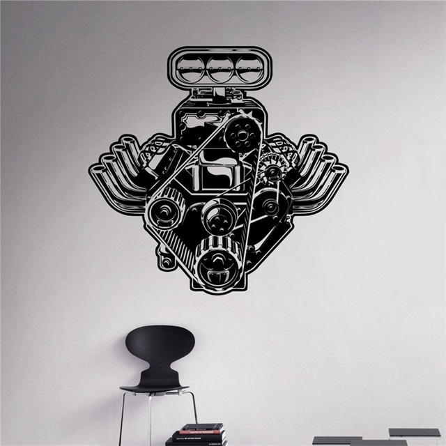 auto machine wall decal engine motor vinyl sticker home interior garage decor removable decor. Black Bedroom Furniture Sets. Home Design Ideas
