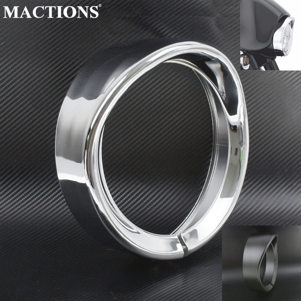 7inch Headlight Trim Ring 7 Headlamp LED Visor Style Cover For Harley Touring Softail Road King Electra Glide  Black Chrome7inch Headlight Trim Ring 7 Headlamp LED Visor Style Cover For Harley Touring Softail Road King Electra Glide  Black Chrome