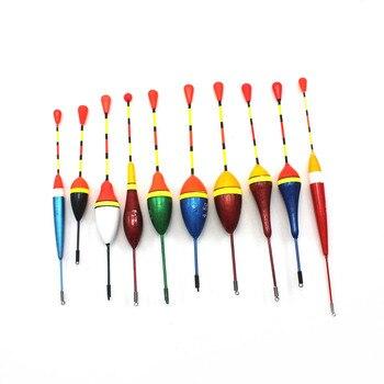 10 개/몫 낚시 수레 세트 부표 Bobber 낚시 라이트 스틱 플로트 변동 믹스 크기 컬러 플로트 부표 낚시 액세서리