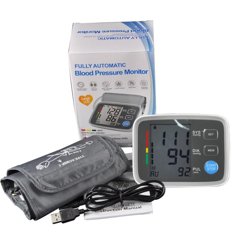 Arm cuff Digital Blood Pressure Monitor tonometer hematomanometer sphygmomanometer pulsometros Health Monitor for heart blood (7)
