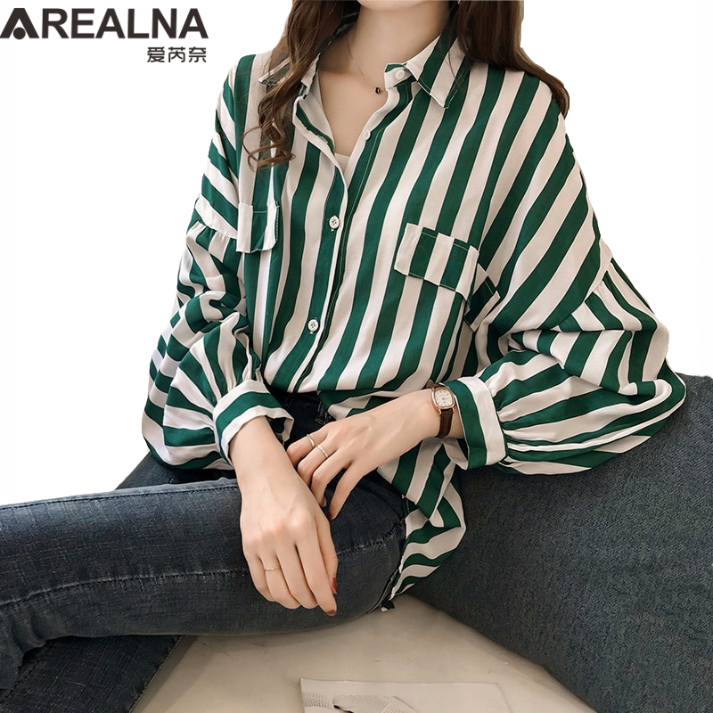 Korean Fashion Female Striped Loose Tunic   Blouse     Shirt   2019 Fall Kimono Cardigan Batwing Sleeve Women's Tops and   Blouses   Blusas