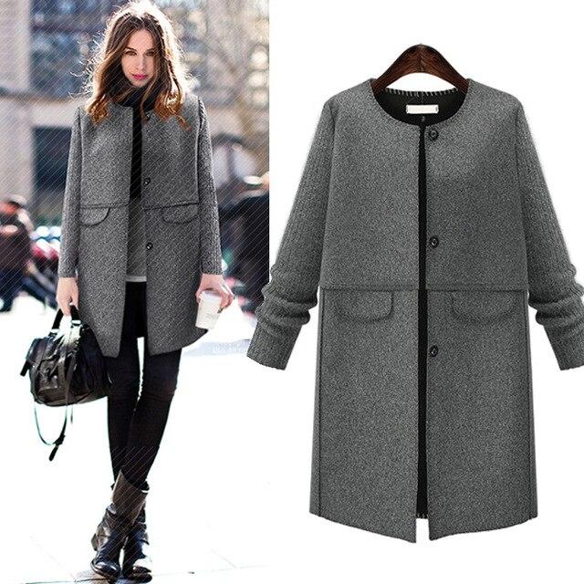 92507cdb031a2 2016 mujeres de La Manera abrigos de invierno Gris de lana Largo abrigo  XL-5XL