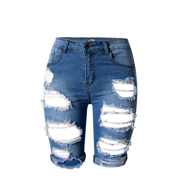 Longueur au genou Déchiré Jeans pour Femmes Trous Plus La Taille Denim  Shorts avec Taille Haute 7c50c64573b