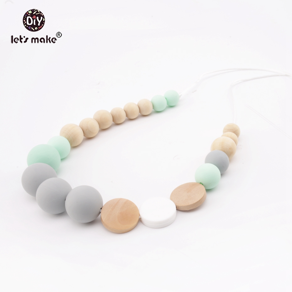 Lets Make Baby Teething Fashion Necklace Silicone Beads Wooden Beads DIY Jewelry Handmad ...