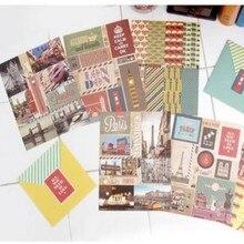 3 hojas de viaje tema pegatinas retro Londres París diseño scrapbooking hobby de la escuela proveedor de material de papelería