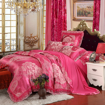 New Design Boutique Real Silk Jacquard 4pcs Beding Sets Lace Hem Home Decoration Textile Wedding Bedding Sets Comforter Set