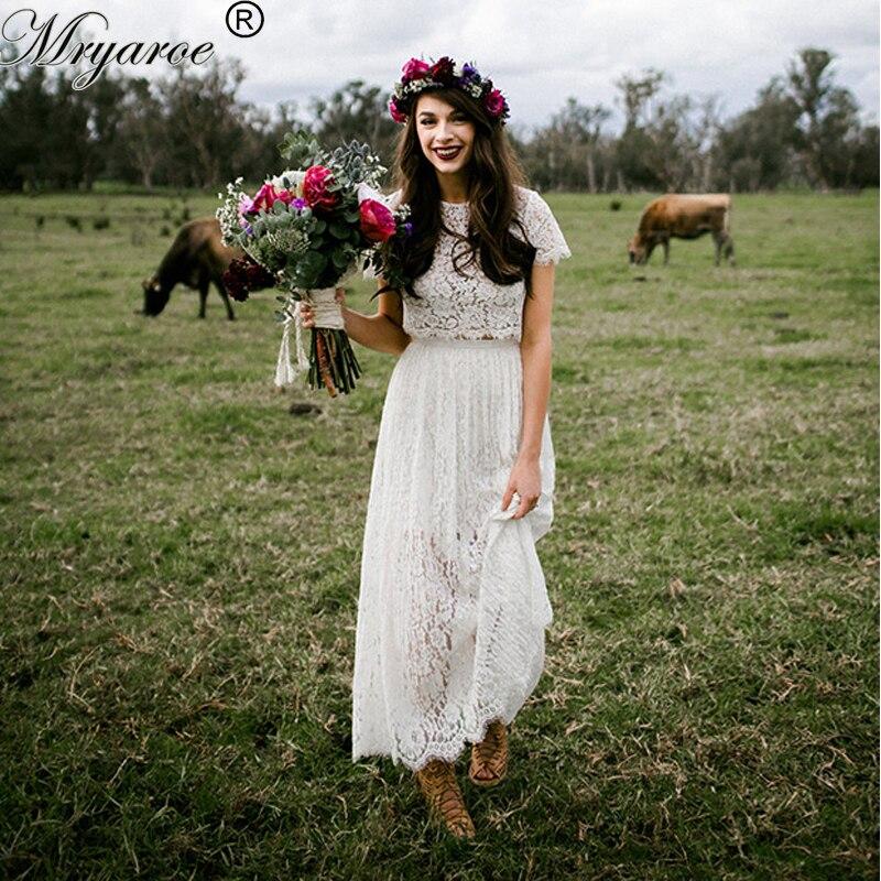 Mryarce Short Wedding Dresses Lace Two Piece Illusion Bodice Boho Wedding Dress Short Sleeves vestido de