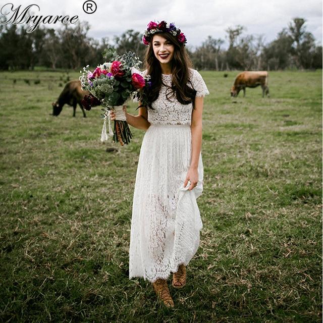 Mryarce Short Wedding Dresses Lace Two Piece Illusion Bodice Boho