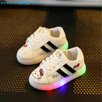 KKABBYII Children Shoes With Light Girls Cartoon Kitty LED Shoes Kids Glowing Sneakers For Boys Chaussure