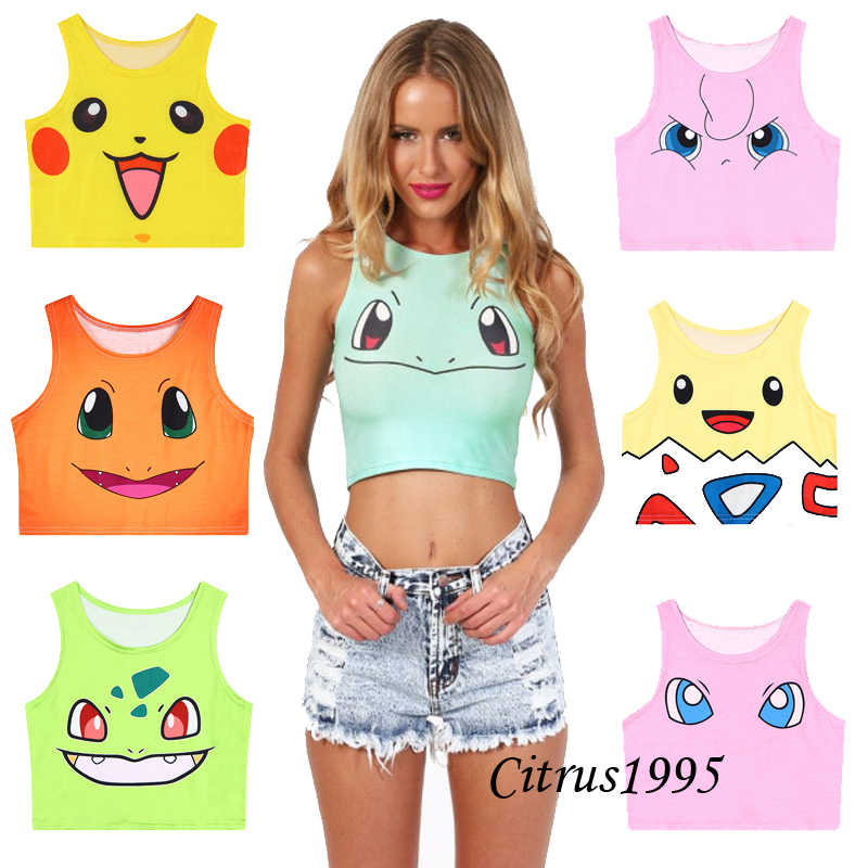 Harajuku Girls Sexy Cosplay Costume Pokemon go Pocket Road Sea Monster Cute Sailor Moon Crop Tops Vest Tops Shirt cosplay anime