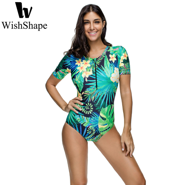 2bc5ea5352 US $19.89 |Sexy Leaf Floral Print Swimwear Women One Piece Swimsuit Female  Brazilian Short Sleeve Surfing Bathing Suit Beach Swim Suits-in Body Suits  ...