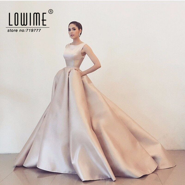 ece2ded51 Light Pink Simple Design Evening Gown Formal Dress Women Party Dresses 2017  Robe De Soiree Satin Prom Dress Cheap
