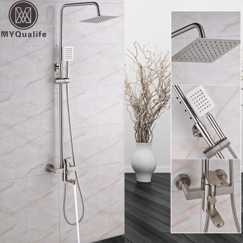 Brushed Nickel Bath Shower Set Single Handle Bathroom 8 Rainfall Shower Faucet Column with Swivel Tub Spout Hand Shower